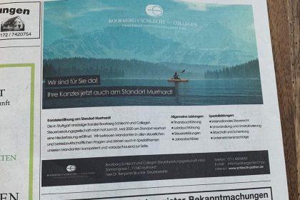 Werbeanzeige für Schlecht und Partner, Stuttgart