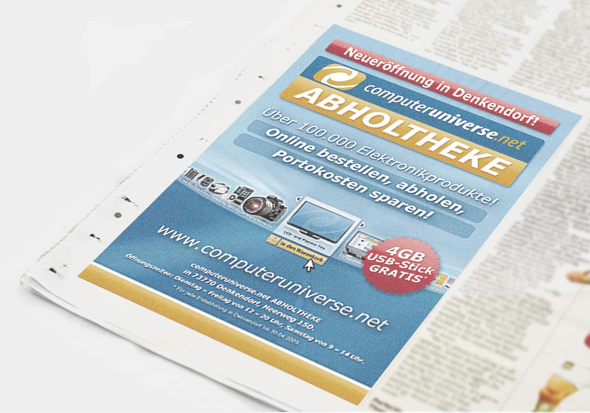 Werbeanzeige für computeruniverse.net