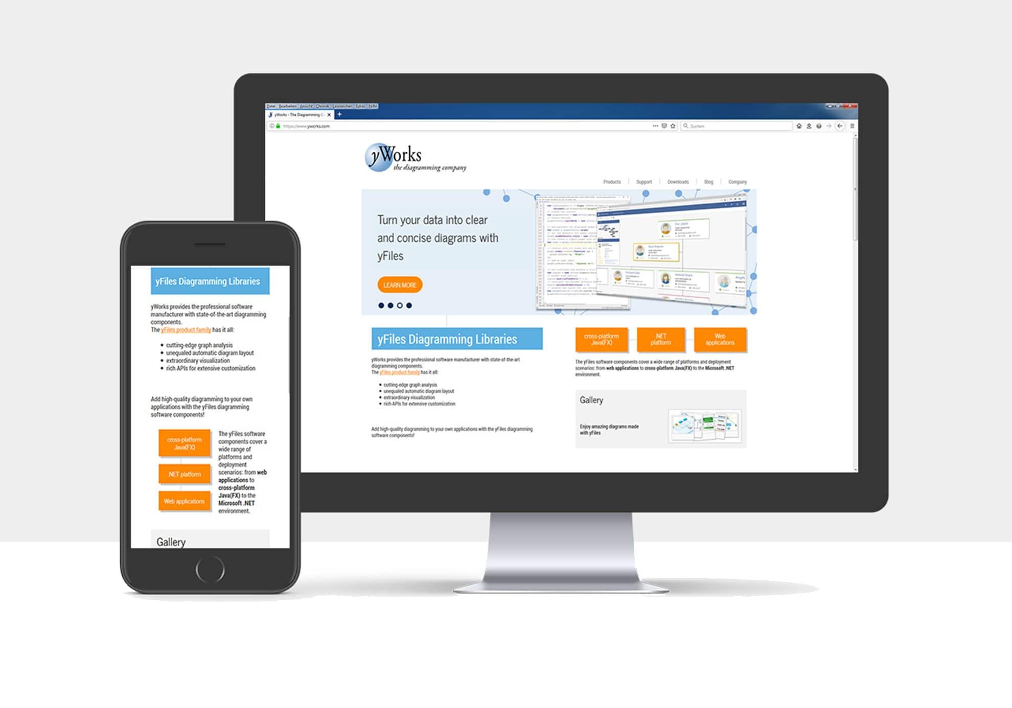 Webseite für die yWorks GmbH aus Tübingen